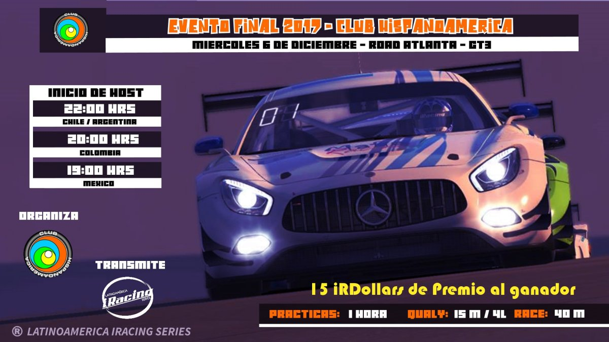 Club Hispanoamérica de iRacing, despide el año con carrera GT3.